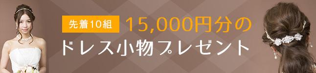 先着10組様 15.000円分のドレス小物プレゼント