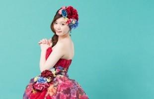 カラードレス 花柄
