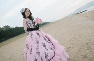 カラードレス ピンク 黒