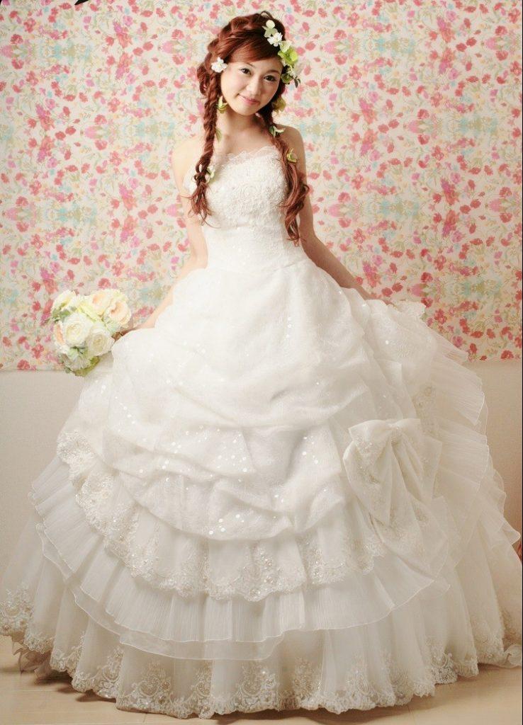 ウェディングドレス チュール プリンセスライン